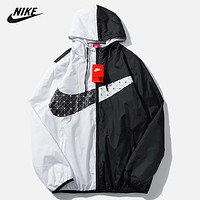 NIKE New fashion hook hooded contrast long sleeve coat windbreaker