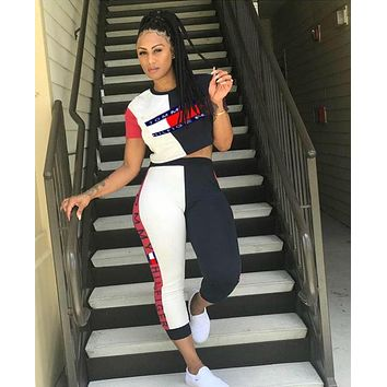 TOMMY HILFIGER Summer Hot Sale Women Print Shorts Sleeve Top Pants Trousers Set Two-Piece
