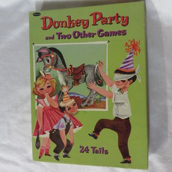 Vintage 40s Donkey Party Pin the Tail Box Whitman Used Complete Darling Poster Mid Century Little Kids Game Birthday