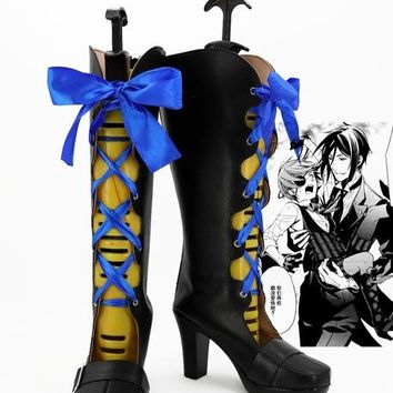 Black butler Sebastian Michaelis ciel Costume Customize hero knight lolita punk custom shoes boots