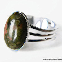 Unakite Natural Stone 14x10mm Silver Plated Adjustable Ring