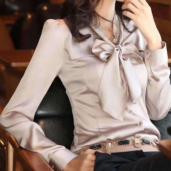 Plus Size 4Xl 5Xl Women Chiffon Blouse Bow Collar Long Sleeved Work Solid Shirts slim Smooth Blouse Tops