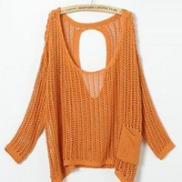 Orange Hollow Out Bat Sleeve Sweater S001378