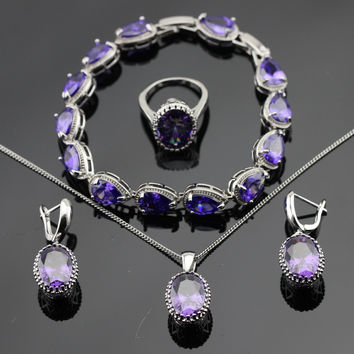 Classic Purple Cubic Zirconia Silver Color Jewelry Sets Bracelets Earrings Necklace Pendant  Rings For Women Free Gift Box