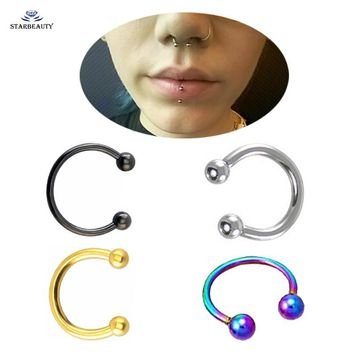 2pcs/lot Cute Ball Nose Ring Goth Earrings Septum Nose Rings Fake Piercing Lip Nose Piercing 16G Nose Clip Jewelry 6/8/10/12mm