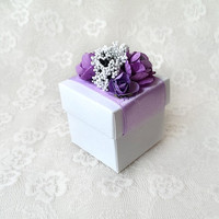 purple and white favor box, wedding, bridal shower, tea party, bridesmaid gift box with paper flowers