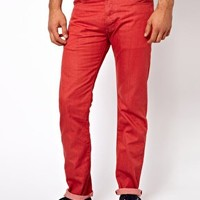 Levis Jeans 501 Straight Fit Mineral Red at asos.com