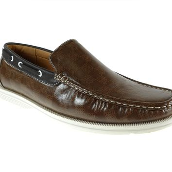 Mens Rocus Boat Slip On Checkers Design Loafers Shoes 3012 Dark Brown