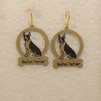 1922 Boston Terrier Sitting Earrings by gclasergraphics on Etsy