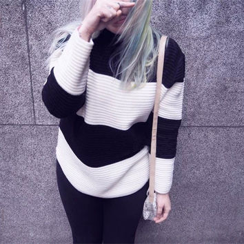 RETRO STRIPED STAND COLLAR LOOSE SWEATER