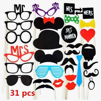 31Pcs Photo Booth Colorful Fun Lip Wedding Decoration Shoot Props Selfie Supplies Party Decoration Favors Event Party Supplies
