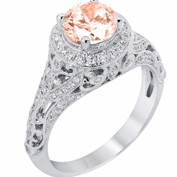 14k White Gold Round Morganite and Diamond Halo Vintage Style Engagement Ring