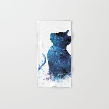 Blue Cat Hand & Bath Towel by monnprint