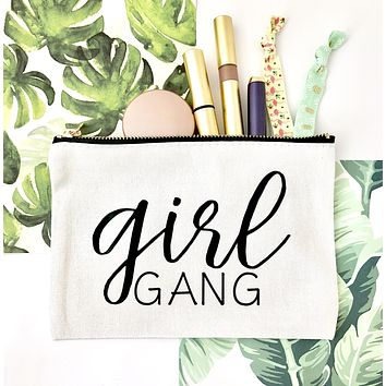 Bridesmaid Cosmetic Bag, Bridesmaid Makeup Bag - Cosmetic Bags, Girl Gang, Bride Vibes, Bridal Gift, Birthday