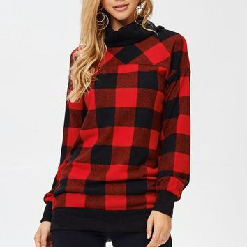 Buffalo Plaid Cowl Neck Top - Red