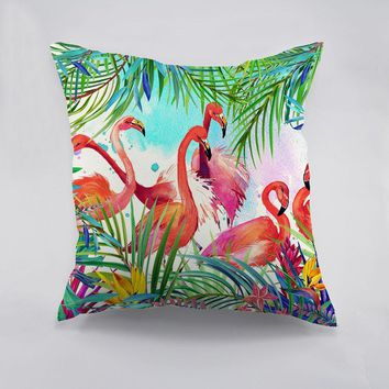 Colorful Flamingo Printed polyester Cushion Cover
