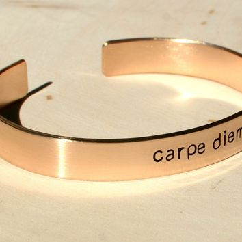 Carpe Diem cuff bracelet in bronze