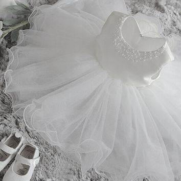 Newborn Summer baby girls dress wedding 1 year birthday party girl clothes kids dresses baptism infant princess tutu dress girl