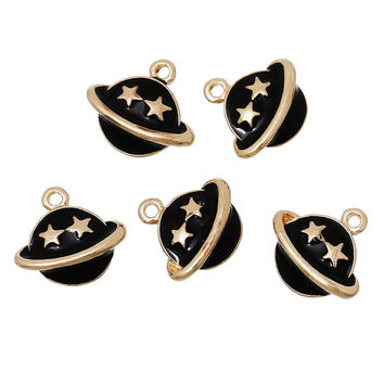 Zinc metal alloy Charm Pendants Planet Saturn Gold Plated Black Five-point Stars Carved Enamel 14mm x 13mm ,1 Pc 2016 new