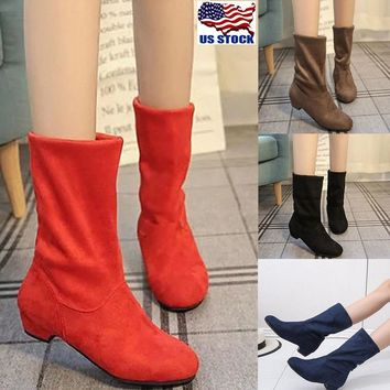afd98abc095 Women s Casual Flat Low Heel Boots Ladies Classic Ankle Shoes St