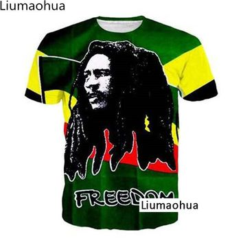 Reggae music Bob Marley 3D T-shirt print summer men's and women's T-shirt 2018 new fashion men and women have tops