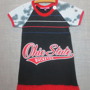 Upcycled Ohio State TShirt Dress Girl's Size 4 has Double Ruffle Hem with Short Tie Dye Black and White Raglan Sleeves, Neck Button Detail
