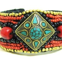 Nepalese tribal embellished beaded cuff
