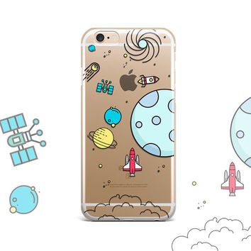 SPACE iPhone 6s case Clear iPhone 6 case clear iPhone SE case Clear iPhone 6 Plus Case clear Galaxy S7 case clear galaxy Space Galaxy S6