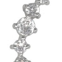 Dazzling Jeweled Cartilage Earring Stud-Cartilage Jewelry-16g