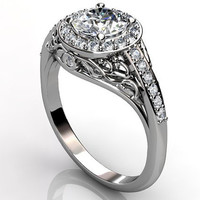 Platinum diamond unusual unique floral engagement ring, anniversary ring, wedding ring ER-1056