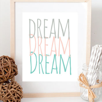 Glitter Gold Peach Modern Dream Inspiration Print Typography Art Wall Decor Whimsical Nursery Baby Children's room Custom Colors