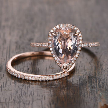 BIG 10x12mm Morganite Wedding Ring Set!Engagement ring Rose gold,Diamond anniversary Ring,14k,Pear Shaped Cut,Gemstone Promise ,Halo ring