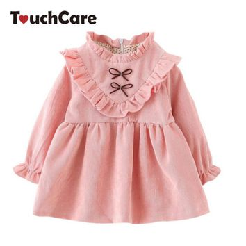 Baby Princess Dress Girls Ruffles Bow Clothes Infant Long Sleeve Dresses Kids Party Wedding Costume Children Spring Autumn