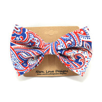 Red, White, and Blue Paisley Hair Bow Barrette
