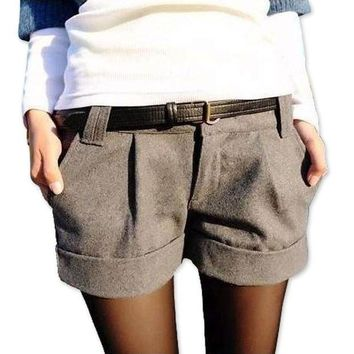 DCCKON3 Women shorts turn up straight woolen bootcut short pants casual shorts black grey woolen slim female