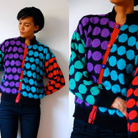 Vtg Colorful Bold Polka Dots Knitted Button Down Sweater