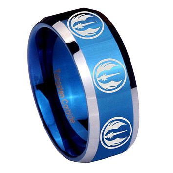 8mm Multi Jedi Star Wars Beveled Edges Blue 2 Tone Tungsten Mens Ring Engraved