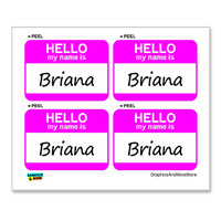Briana Hello My Name Is - Sheet of 4 Stickers