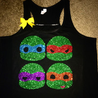 Ninja Turtles Glitter Tank - Ninja Turtles Shirt - Racerback Tank - Ruffles with Love  - Gym Tank - Workout Tank - Workout Clothes