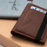 BROWN, Leather handmade men's wallets, Small leather wallet