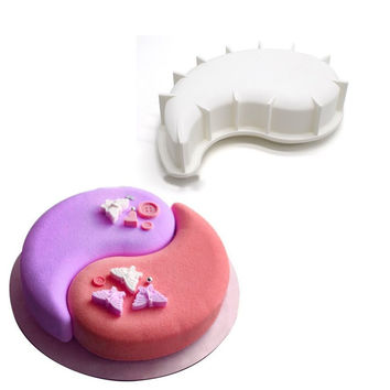 2PCS Silicone Yin Yang Cake Fondant Mold Chocolate Brownie Dessert Baking Pan Tray Mousse Cake Mold
