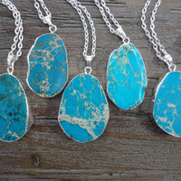 Turquoise Blue Emperor Jasper Silver Pendant Necklace/Silver Surround/Silver Chain/Bright Blue/Choose Your Pendant