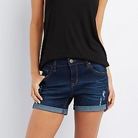 "REFUGE ""GIRLFRIEND"" DARK WASH DENIM SHORTS"