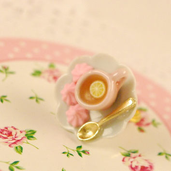 large cup of tea ring -tea cup ring - cup ring - food jewelry - ceramic jewelry