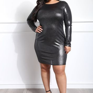 Shimmery metallic party Plus Size Bodycon Dress