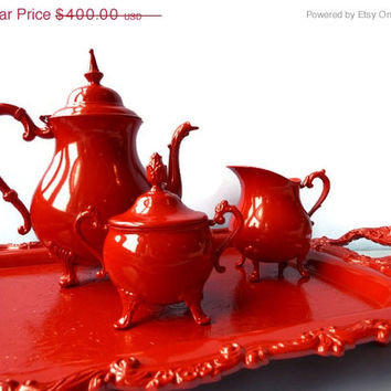 SALE Antique tea set enameled in Gloss Red- Silver plate Upcycled by BMC Vintage Design Studio in powder enamel