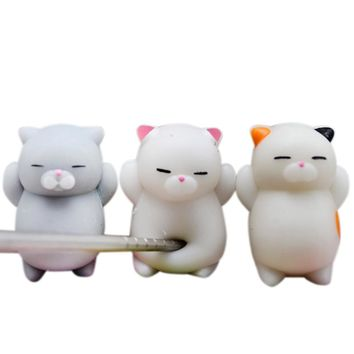 3pcs Cute Mochi Squishy Cat Squeeze Healing Fun Kids Kawaii Toy Stress Reliever