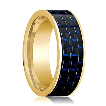 Mens Wedding Band 14K Yellow Gold with Blue & Black Carbon Fiber Inlay Flat Polished Design