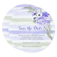 Purple Lavender Green Watercolors Save the Date Card