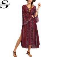 Sheinside Ladies Red Vintage Tribal Printed Slit Maxi Dresses Summer Beach 2016 Women Boho Long Sleeve V Neck Straight Dress